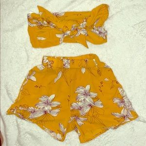 Two piece tie tropical flower outfit